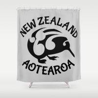 new zealand Shower Curtains featuring KIWI Aotearoa | New Zealand by mailboxdisco