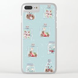 Christmas Pattern Mint Clear iPhone Case