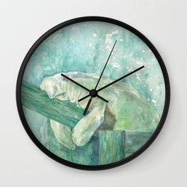 Manatee on a Fence Wall Clock