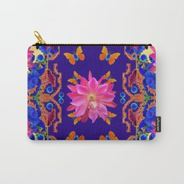 Colorful Pink Floral Butterflies Peacock Tapestry Art Carry-All Pouch