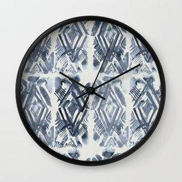 Simply Ikat Ink in Indigo Blue on Lunar Gray Wall Clock