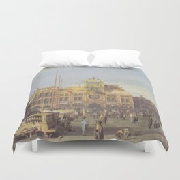 Piazza San Marco Clock Tower - Canaletto (Distressed Plaster Look) Duvet Cover
