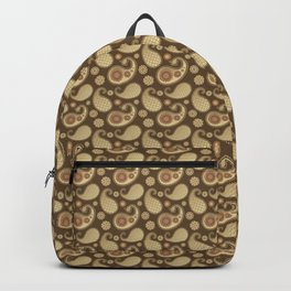 Paisley pattern, Soft Gold on Chocolate Brown Backpack