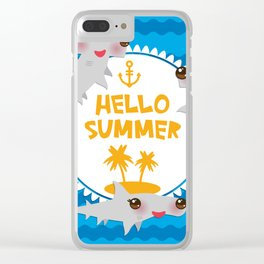 Hello Summer. Kawaii hammerhead shark Clear iPhone Case