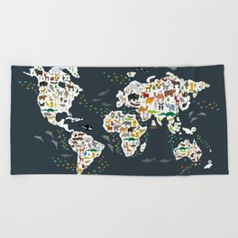 Cartoon animal world map for kids, back to schhool. Animals from all over the world Beach Towel