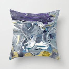 Avalanche - Purple Grey Gold Throw Pillow