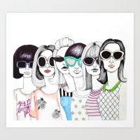 sunglasses Art Prints featuring sunglasses by Emily Tumen