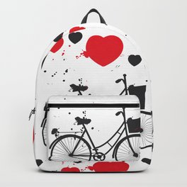 seamless pattern black bike and red heart on white background. Vector illustration Backpack