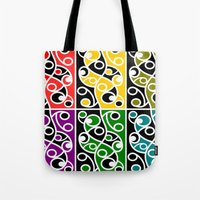 maori Tote Bags featuring Maori Kowhaiwhai Pattern by mailboxdisco