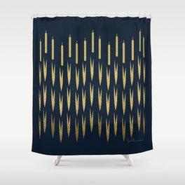 Navy Cattail Shower Curtain