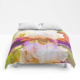 Painterly Bearded Iris Comforters