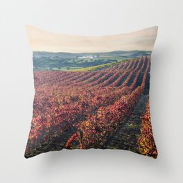 Autumnal vineyards in the Alentejo, Portugal Throw Pillow