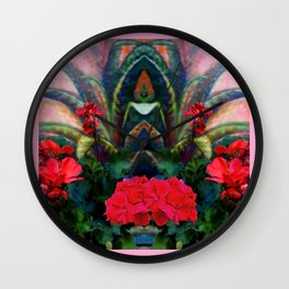 Pink Design Agave & Red Geraniums Still Life Painting Wall Clock