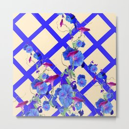 BLUE MORNING GLORIES & BLUE-CREAM LATTICE  DESIGN Metal Print