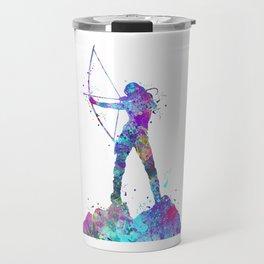 Archery Girl Colorful Blue Purple Watercolor Artwork Travel Mug