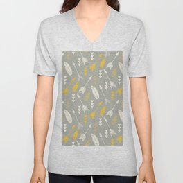 Bohemian feathers and arrows, beige and yellow on gray Unisex V-Neck