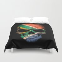 south africa Duvet Covers featuring Dark Skull with Flag of South Africa by Jeff Bartels