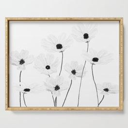 black and white cosmos Serving Tray