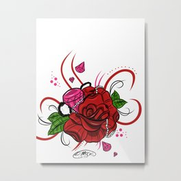 Rose & Diamonds Metal Print