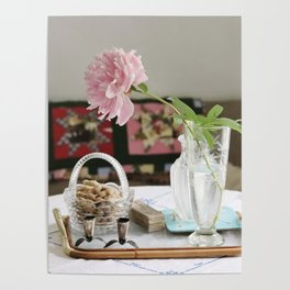 Peony and patchwork still life Poster