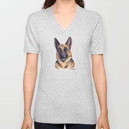 German Shepard - Dog Portrait Unisex V-Neck