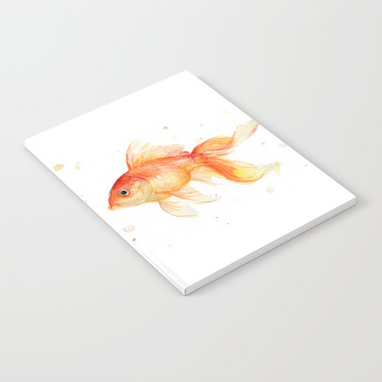 Goldfish Love Watercolor Fish Painting Notebook