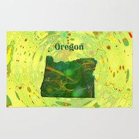 oregon Area & Throw Rugs featuring Oregon Map by Roger Wedegis
