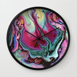 Colorful abstract marbling Wall Clock