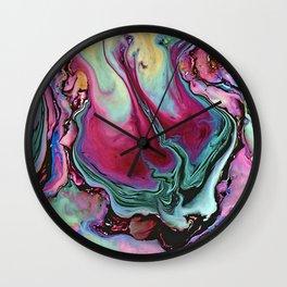 Colorful abstract marbling Wall Clock