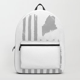 Distressed USA Flag with Maine Silhouette Original Design Backpack