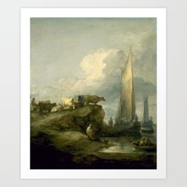 Thomas Gainsborough - Coastal Scene with Shipping and Cattle Art Print