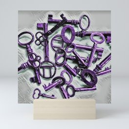 Vintage Skeleton Key Photograph Series Photo 5 – Metallic Purple - by Jéanpaul Ferro Mini Art Print