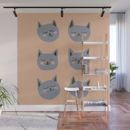 Abstraction_CAT_FACE_EXPRESSION_Minimalism_001 Wall Mural