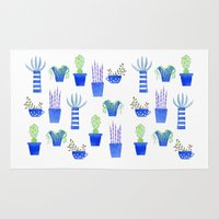 succulents Area & Throw Rugs featuring Succulents by Nic Squirrell