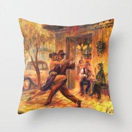 Couple dancing tango painting Throw Pillow