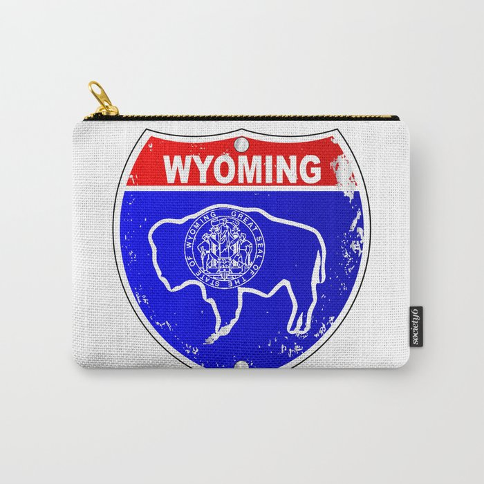 Wyoming Flag Icons As Interstate Sign Carry-All Pouch