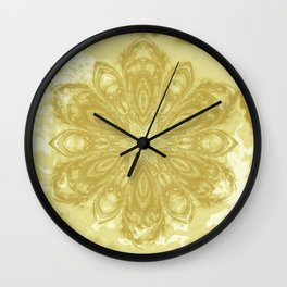 Gold lace textured mandala Wall Clock