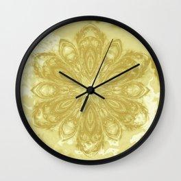 Gold lace textured mandala Wall Clock