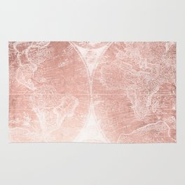 Antique World Map White Rose Gold Rug