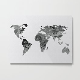 Black and White Art World Map  Metal Print
