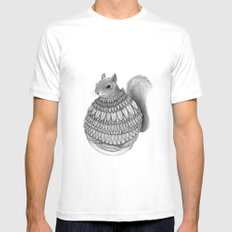 The Squirrel-Feathered MEDIUM Mens Fitted Tee White