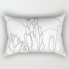 Black and White Cactus and Mountain Minimal Illustration Rectangular Pillow