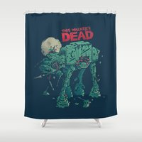 dead Shower Curtains featuring Walker's Dead by Victor Vercesi