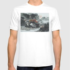The spring of Absolute Valley MEDIUM White Mens Fitted Tee