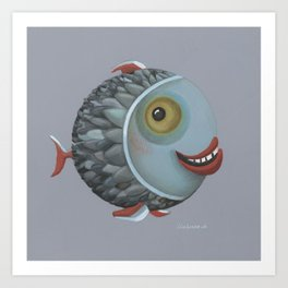 Pisces (grey) Art Print