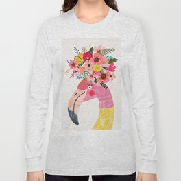 Pink flamingo with flowers on head Long Sleeve T-shirt