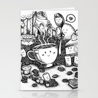 coffe Stationery Cards featuring Smile coffe by Kisava NiCh