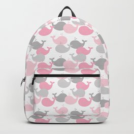 Whale Nautical Pink Gray Backpack