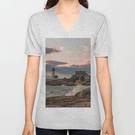 Annisquam Lighthouse sunset Unisex V-Neck