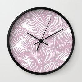 Modern tropical lavender palm tree floral Wall Clock